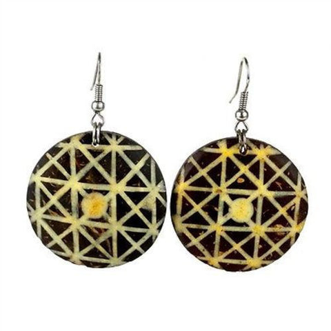 Round Coconut Inlaid with Bone Earrings Handmade and Fair Trade