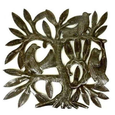Haitian Steel Drum Tree of Life Sq 8 inch Wall Art - Croix des Bouquets