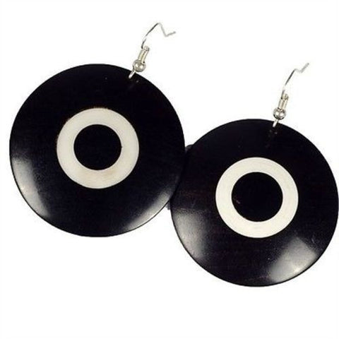 African Blackwood & Ivory Wood Disk Earrings Handmade and Fair Trade