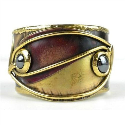 Continuity Hematite Copper and Brass Cuff Handmade and Fair Trade