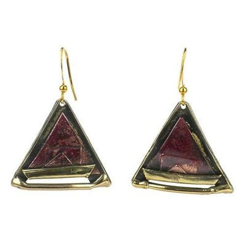 Copper and Brass Triangle Earrings - Brass Images (E)
