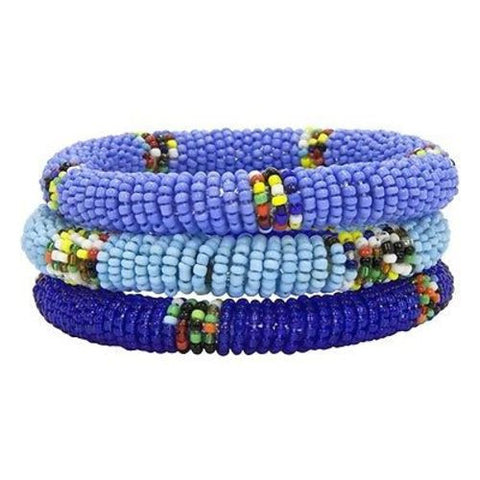 Maasai Bangles - Set of Three - Blues - Jedando (J)
