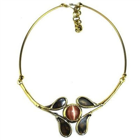 Peach Tiger Eye Petals Necklace - Brass Images (N)