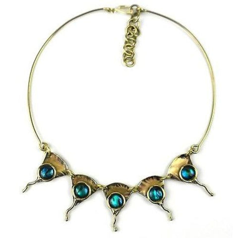 Paua Ocean Necklace - Brass Images (N)