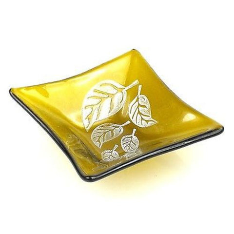 Etched Leaf Small Recycled Amber Glass Dish - Tili Glass (G)