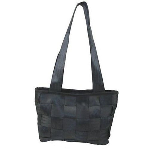 Upcycled Black Seat Belt Handbag - Conserve