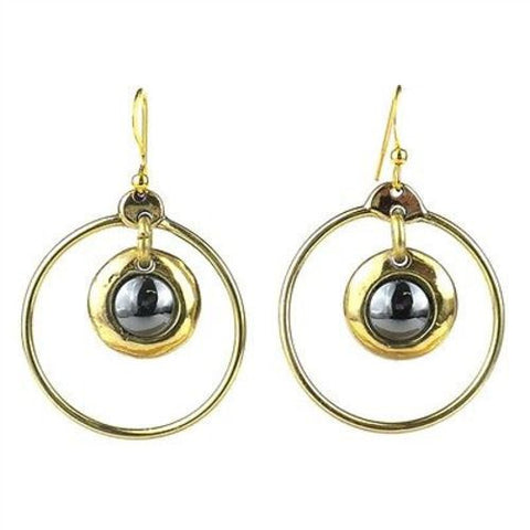 Encircled Hematite Brass Earrings - Brass Images (E)