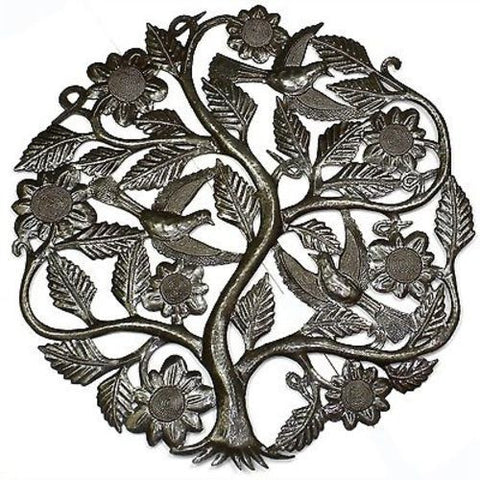 Tree of Life with Flowers Metal Wall Art 24-inch Diameter - Croix des Bouquets