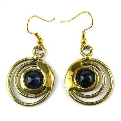 Concentric Dark Blue Tiger Eye Brass Earrings - Brass Images (E)
