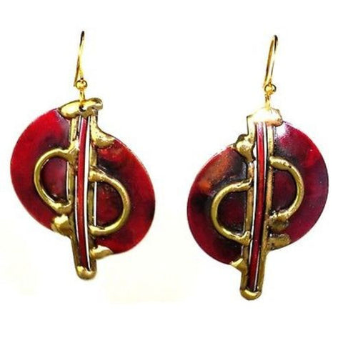 Cello Brass and Copper Earrings - Brass Images (E)