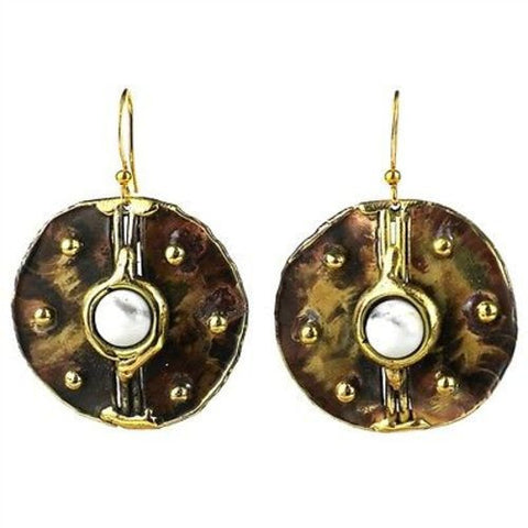Howlite Brass Disk Earrings - Brass Images (E)
