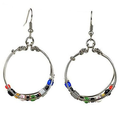 Handmade Beaded Silverplated Wire Loop Earrings - Zakali Creations