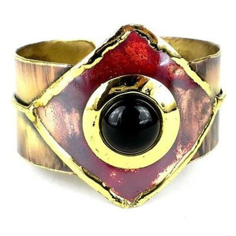 Onyx and Brass Copper Cuff - Brass Images (C)