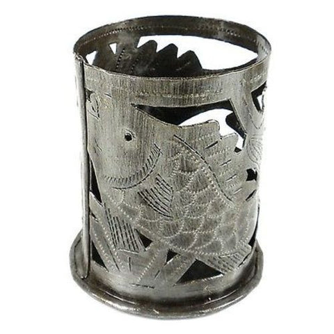 Metal Art Candle Holder Fish Design - Croix des Bouquets (O)