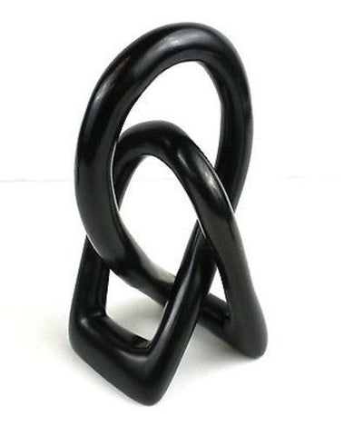 Natural Soapstone 6-inch Lover's Knot in Black - Smolart
