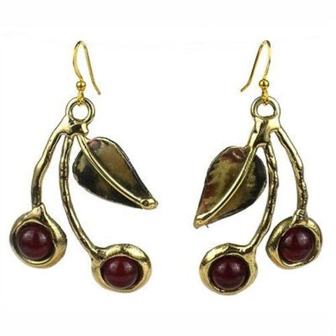 Carnelian Cherry Brass Earrings - Brass Images (E)