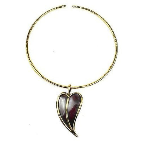 Heart Copper and Brass Pendant Necklace - Brass Images (N)