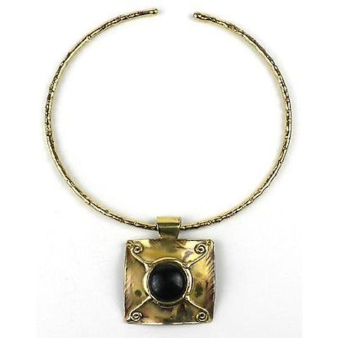 X Squared Dark Blue Tiger Eye Brass Pendant Necklace - Brass Images (N)