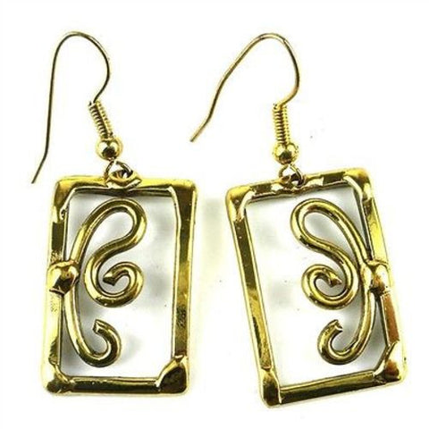 Open Scroll Work Earrings - Brass Images (E)