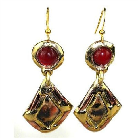 Carnelian Diamond Brass Earrings - Brass Images (E)