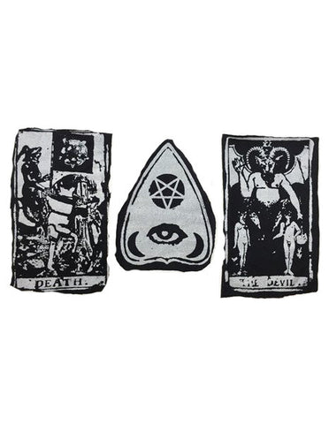 DIY occult tarot card patch set goth