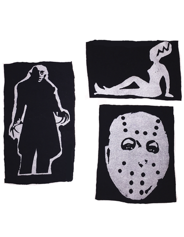 horror nosferatu vampire frankenstein pinup hockey mask patch