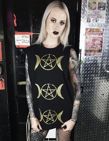 triple moon goddess occult witch goth gothic alternative