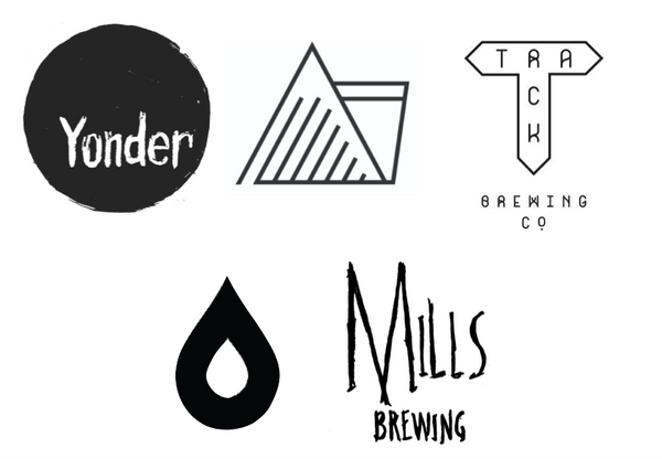 The logos of the 5 breweries features in the blog post: Yonder, Wander Beyond, Track, Loka Polly and Mills Brewing.