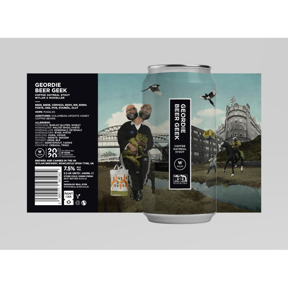 Wylam, Geordie Beer Geek, Oatmeal Stout collaboration with Mikkeller, 7.5%, 440ml - The Epicurean