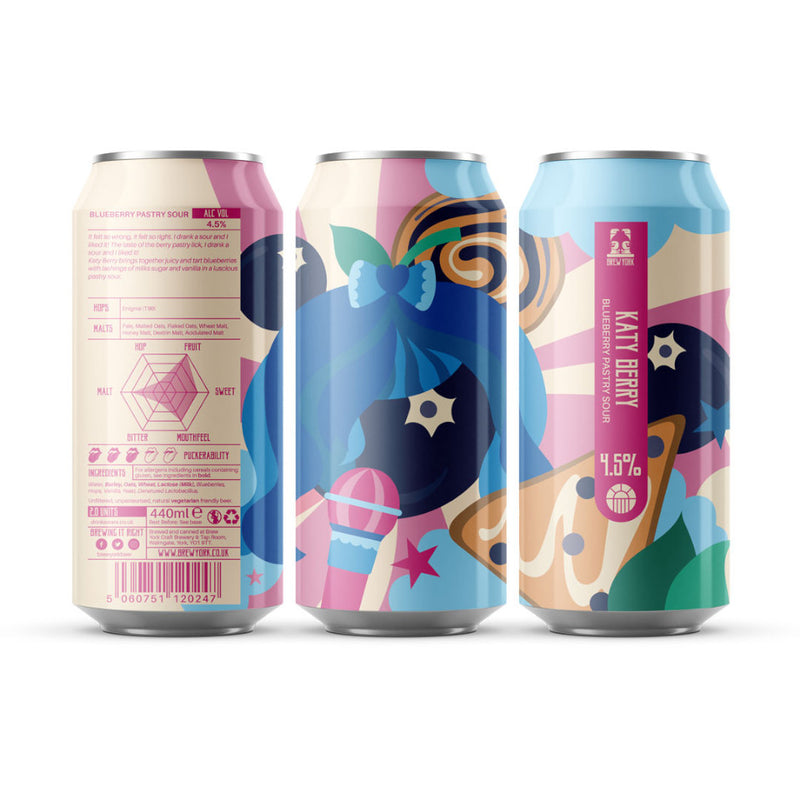 Brew York, Katy Berry, Blueberry Pastry Sour, 4.5%, 440ml - The Epicurean