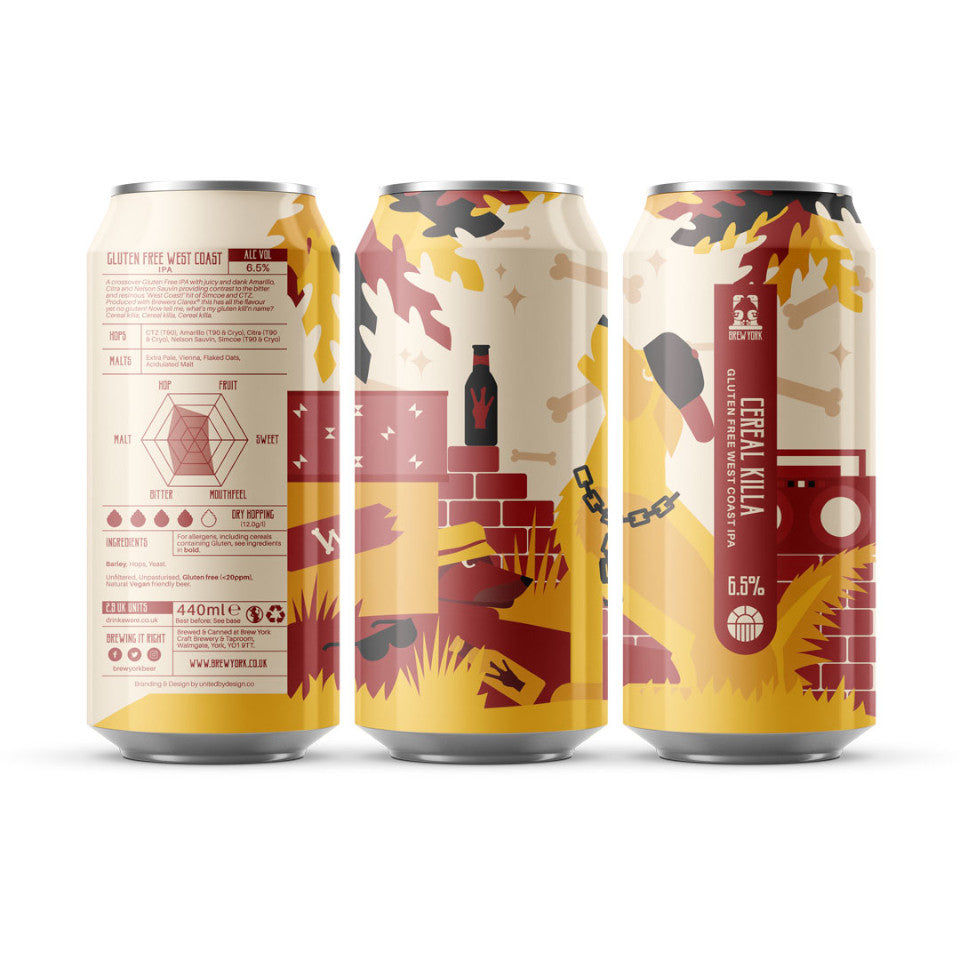 Brew York, Cereal Killer, Gluten Free West Coast IPA, 6.5%, 440ml - The Epicurean