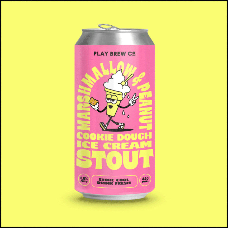 Play Brew Co, Marshmallow & Peanut Cookie Dough Ice Cream Stout, 6.0%, 440ml