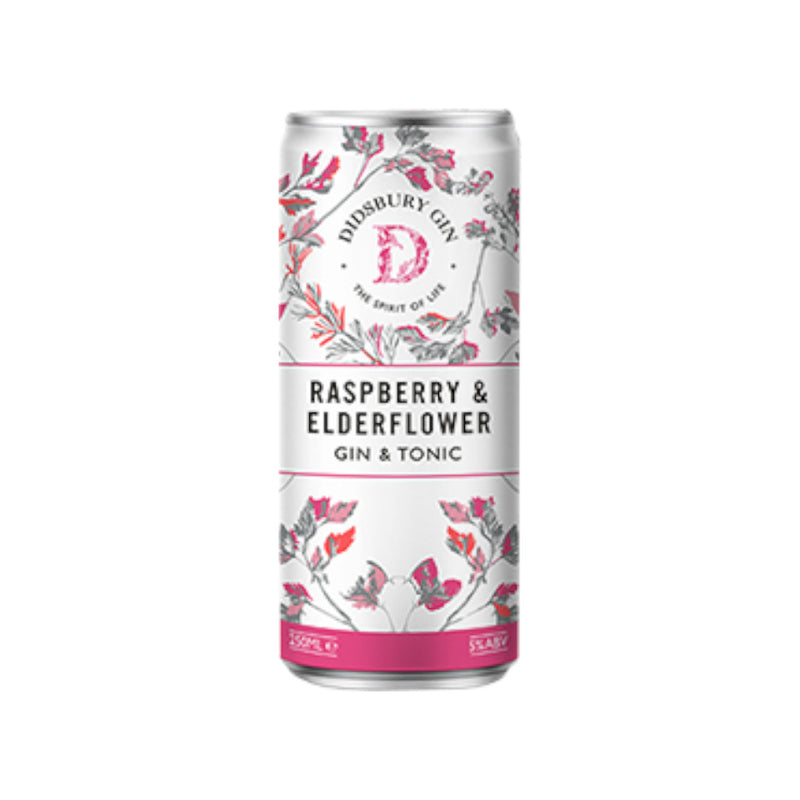 Didsbury Gin, Raspberry & Elderflower, Pre Mixed Gin & Tonic, 5.0%, 250ml