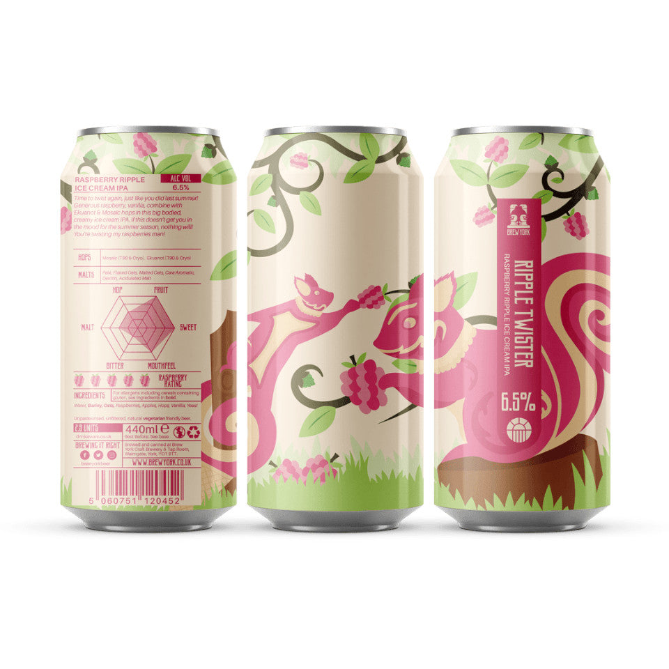 Brew York, Ripple Twister, Raspberry Ripple Ice Cream IPA, 6.5%, 440ml