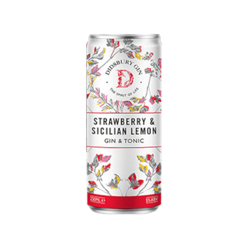 Didsbury Gin, Strawberry & Sicilian Lemon, Pre Mixed Gin & Tonic, 5.0%, 250ml