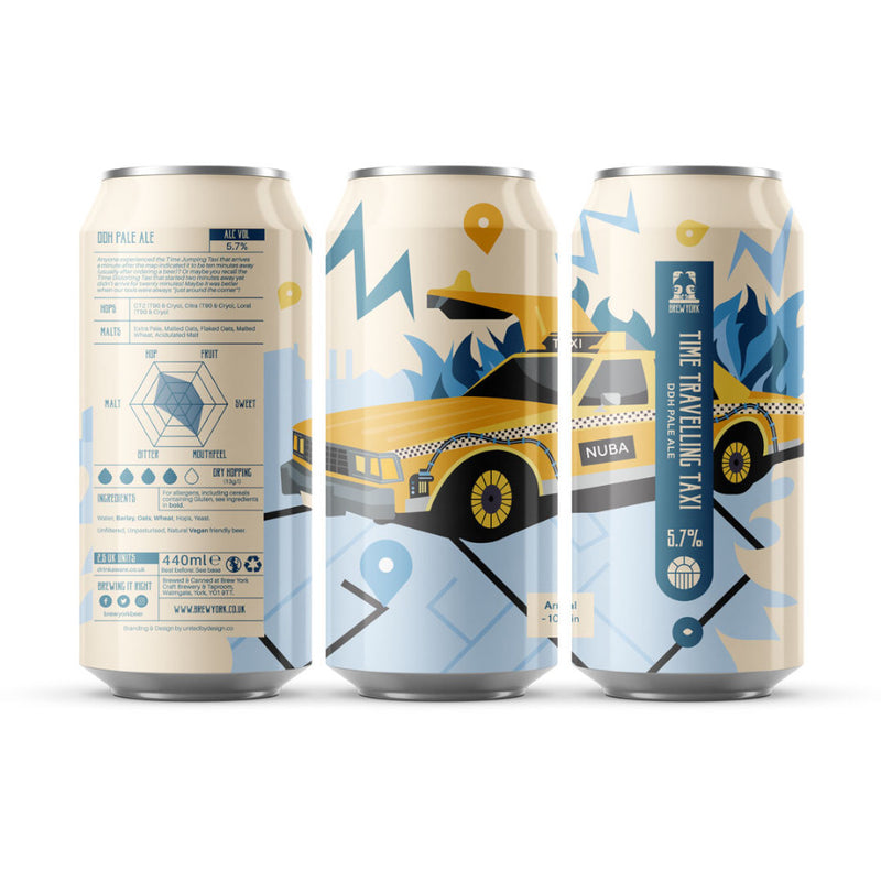Brew York, Time Travelling Taxi, DDH Pale Ale, 5.7%, 440ml - The Epicurean