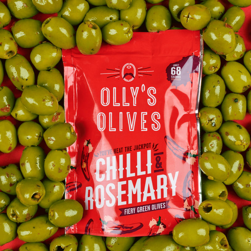Olly's Olives, Chilli & Rosemary Flavour Olives, 50g - The Epicurean