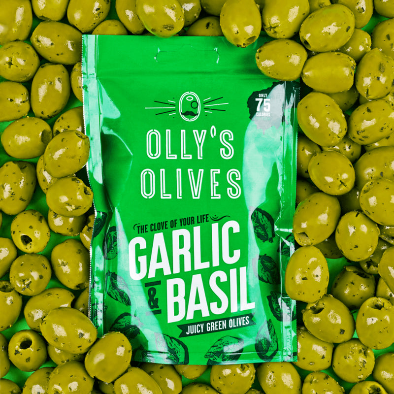 Olly's Olives, Garlic & Basil Flavour Olives, 50g - The Epicurean