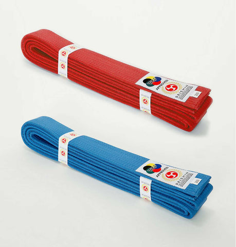 Red and blue cotton karate belts
