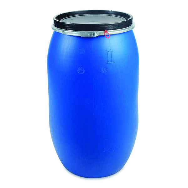 Bigger Jugs 120 Litre HDPE Plastic Blue UN Approved Food Grade Wide Top Drum Barrel Bin with Bigger Jugs Easy Airlock System