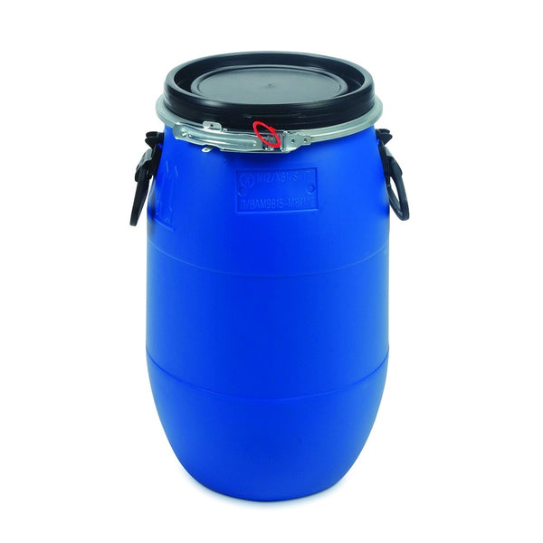 Bigger Jugs 30 Litre HDPE Plastic Blue UN Approved Food Grade Wide Top Drum Barrel Bin with Bigger Jugs Easy Airlock System