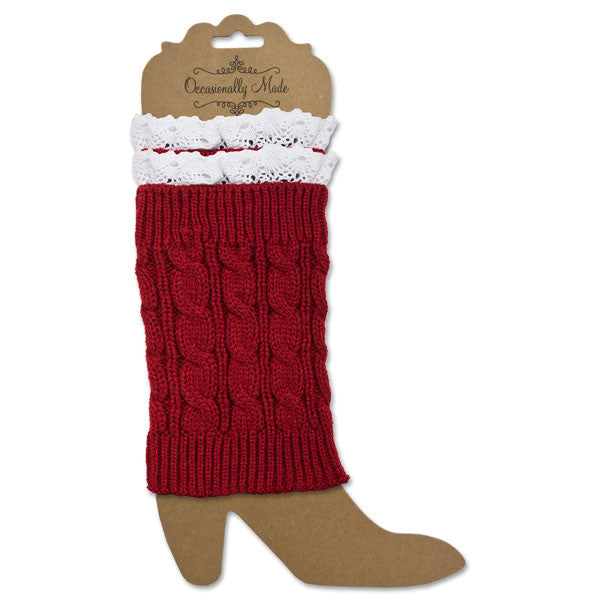 Crimson and White Lace Boot Cuffs