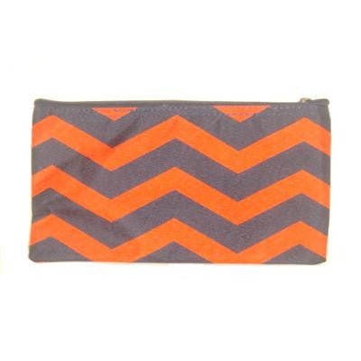 Small Navy and Orange Chevron Cosmetic Bag