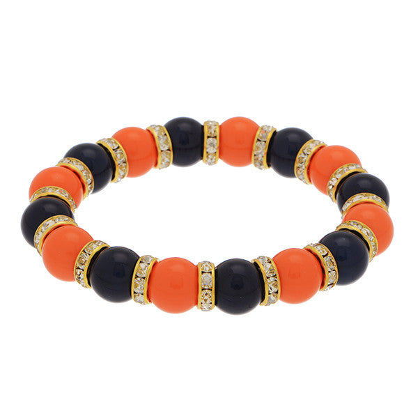 Navy and Orange Rhinestone Stretch Bracelet