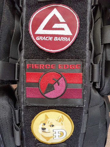 Dogecoin Gracie Barra BJJ Fierce Edge morale patches