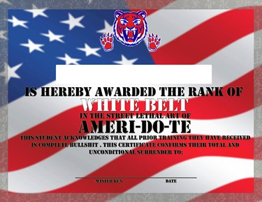 Ameri-Do-Te White Belt Certificate