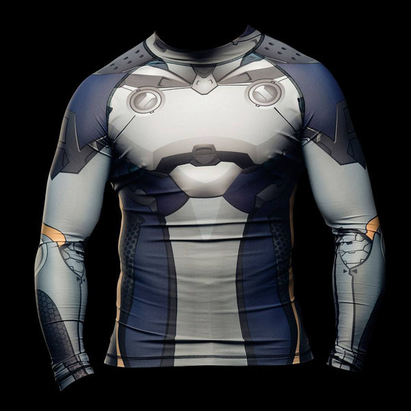 Mens MMA Muay Thai BJJ Motorbike Bounty Hunter Power Armour Armor Rashguard Activewear Baselayer