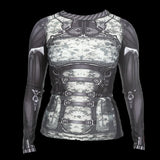 Ladies MMA Muay Thai BJJ Motorbike Cycle Cyborg Armour Armor Muscle Rash Guard Activewear Baselayer