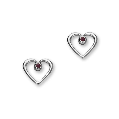 July Birthstone Silver Earrings CE358 Ruby