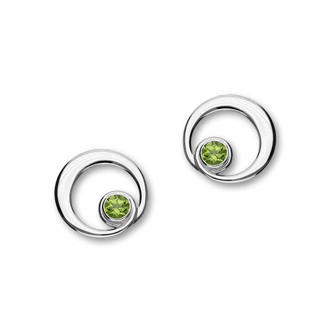 August Birthstone Silver Earrings CE360 Peridot